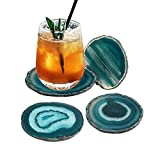 "AMOYSTONE Teal Agate Coaster 3.5-4"" Dyed Sliced Genuine Brazilian Aqua Agate Drink Coasters with Rubber Bumper Set of 4"