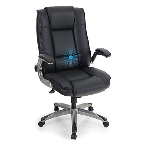 PHI VILLA Office Chair with High Back,Ergonomic Desk Chair with Massage Lumbar Support,Executive Office Chair with Adjustable Armrest,PU Leather,Weight Capacity 400 lbs,Black