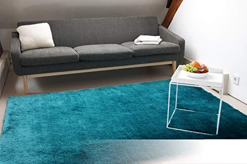 Exklusiver Hochflor Shaggy Teppich Satin türkis/blau 80x150 cm - edler, seidig glänzender Teppich