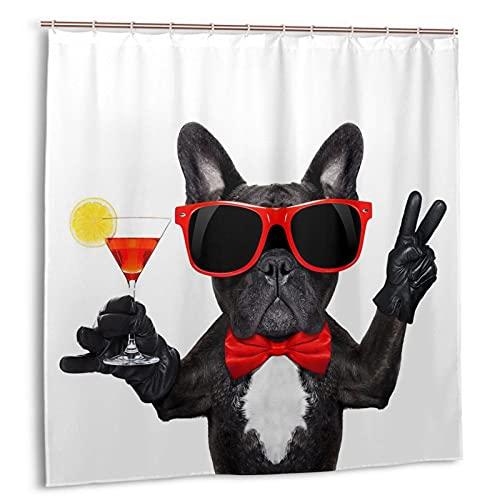 Hapyshop Funny Bulldog Wearing Sunglasses Pattern Shower Curtain Waterproof Fabric Cute French Bulldog Bath Curtain 72 X 72 Inch Dog Pet Light Color Bathroom Decor with 12 Hooks