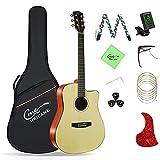 Guitarra acústica Hricane 4/4 Dreadnought Cutaway-104,1 cm-Con afinador-cejilla-cuerdas de repuesto-funda para guitarra folk-set de guitarra acústica-color natural-HSM-401C