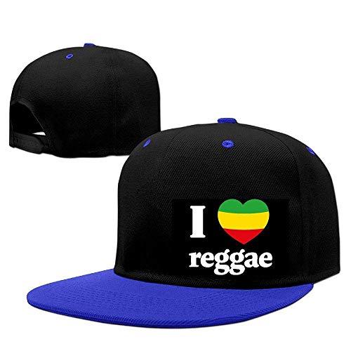LLeaf Berretto da Baseball Classico, I Love Reggae Berretto da Baseball Regolabile Regolabile per Uomo/Donna Cappello Hip-Hop Cappello RoyalBlue