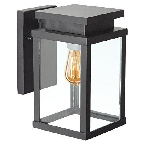 KS Verlichting Wandleuchte Jersey M - Hoflampe in modernem, kubischem Design - Für Hof & Garten - Pulverbeschichtetes Aluminium - Für Halogen & LED - Max. 60W, Schwarz