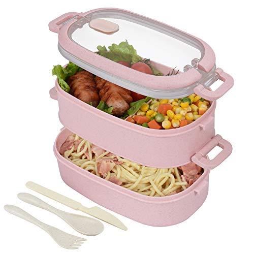 Fiambrera Hombrima-Comida enlatada para niños y adultos en 2 niveles, caja bento hermética y ecológica. Ideal para picnic, trabajo, té de la tarde. Apto para microondas y lavavajillas