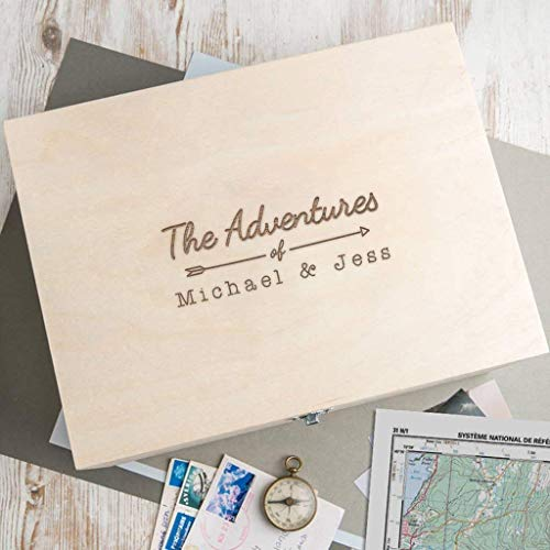 Personalized Wooden Keepsake Box -'The Adventures Of.' Design - Anniversary Engagement Gifts for Couples - Christmas Xmas Holiday Present for Boyfriend Girlfriend
