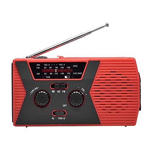 Radio de emergencia AM / FM y NOAA Radio de manivela con linterna para radios solares portátiles de emergencia SOS Radio AM / FM autoalimentada con banco de energía de 2000 mAh Cargador de teléfono