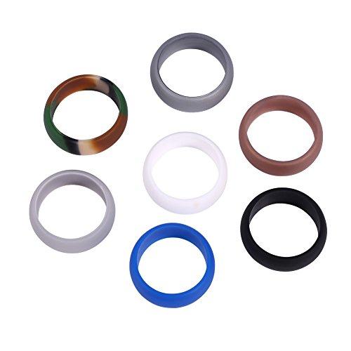 ANGGO 5 taglie 7 pezzi colori anello in silicone da uomo anello nuziale in silicone set fascia flessibile per allenamento all'aperto(12)
