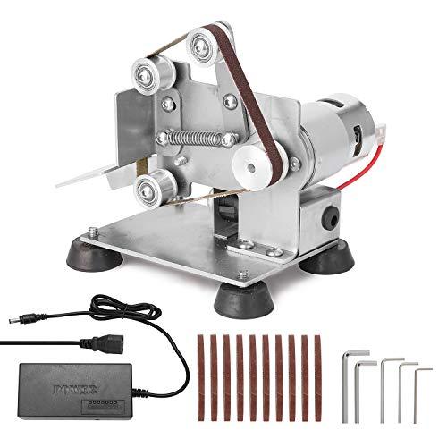 KKmoon Elektrische Bandschleifer Mini Bandschleifmaschine DIY Polierschleifmaschine Kantenschärfer mit Fußpolstern