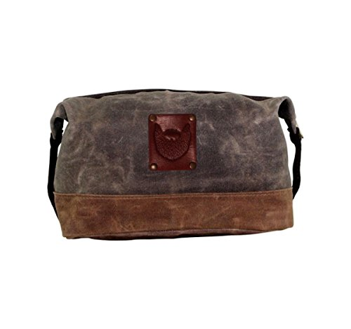 Waxed Canvas Dopp Kit Shaving Bag Christmas Man Best Man Birthday Gift Father's Day Tooled Leather Travel Toiletry Beard Hipster Cool Perfect Groomsman Gifts Cool Boyfriend Gift Ideas