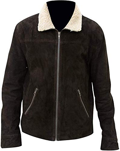 Fashion_First Rick Grimes - Chaqueta de piel con cuello de piel, color marrón