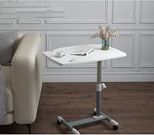 N/Z Home Equipment Folding Table Desk with White Density Board Adjustable Height Lockable Casters Tray Side Table for Overbed Table Coffee Table Computer Desk