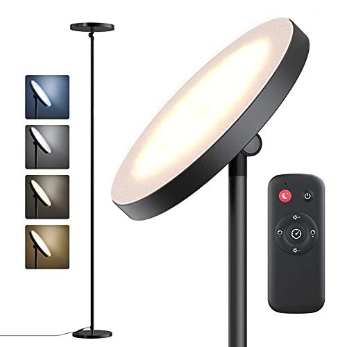 Lampadaire sur Pied Salon,30W Lampe sur Pied, 4 Températures de Couleur,4 Niveaux de Luminosité,Lampadaire LED sur Pied Lampadaire avec Contrôle Tactile&Minuteur&Télécommande,Gradation en continu