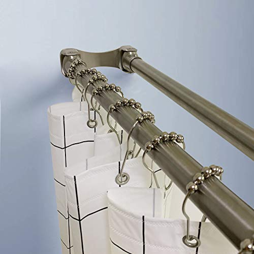 Naiture 60'' Stainless Steel Double Straight Shower Curtain Rod, Brushed...