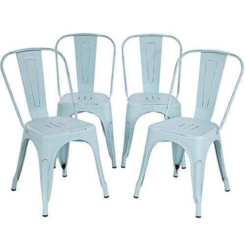 Metal Chair Dining Chairs Set of 4 Patio Chair 18 Inches Seat Height Dining Room Kitchen Chair Tolix Restaurant Chairs Trattoria Bar Stackable Chairs Metal Indoor Outdoor Chairs,Blue