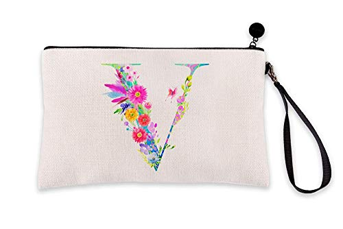 Di Lewis Personalized Makeup Bag for Women – Letter V Monogram - Cute Travel Organizer Toiletry Cosmetic Pouch with Multicolor Floral Design – Best for Bridal, Bridesmaid, Teacher Gifts – 6x9 in
