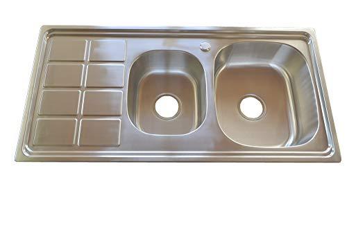 warenplus Einbauspüle Spülbecken Edelstahl 304 eckig mit 2 Becken und großer Ablage INKL. Ablaufganitur 100 x 50 cm, Spüle Küchenspüle Küchenbecken