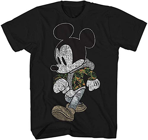 Mickey Mouse Camo Camouflage Disneyland World Retro Classic Vintage Tee Funny Humor Adult Mens Graphic T-Shirt Apparel (Large, Jet Black)