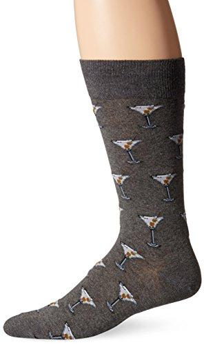 Hot Sox Herren-Socken mit Lebensmittel- & Booze-Motiv Gr. L, Martini (Charcoal Heather)