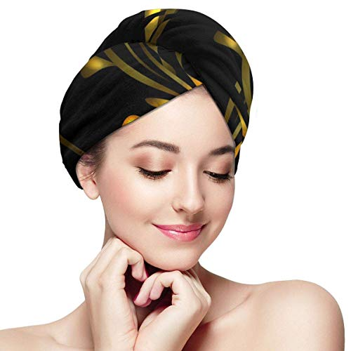 GYTHJ Cheveux secs Capgolden Tulip in Sun Glare for Greeting Card Hair Towel Wrap Turban Microfiber Drying Head Towel with Buttons Wrapped Bath Cap for Bath Shower Women Gril
