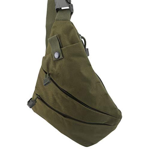 unknow YiYour Radfahren Wandern Brust Umhängetasche Reißverschlusstasche Outdoor Small Daypack,Grün (Linke Schulter)