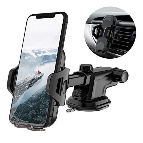 【2020最新版】Votuenix 車載ホルダー 2in1 スマホホルダー 粘着ゲル吸盤&エアコン吹き出し口式 車載ホルダー iphone 車載 スマホスタンド 伸縮アーム ワンタッチ 自由調節 取り付け簡単 360度回転 4-7インチ全機種対応 iPhone/Samsung/Huawei など