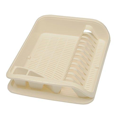 keeeper Égouttoir à Vaisselle avec Bac d'Égouttement, Plastique sans BPA, 39,5 x 29,5 x 8 cm, Pierre, Crème