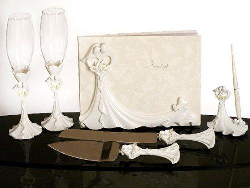 Bride and Groom Calla Lily Wedding Accessories SET: Guest Book, Pen, Flutes..