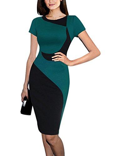 Colyanda Damen Elegant Farbe Block Schlank Zur Arbeit Sitz Business Prinzesskleid Bleistift Kleid(Grün 2XL)