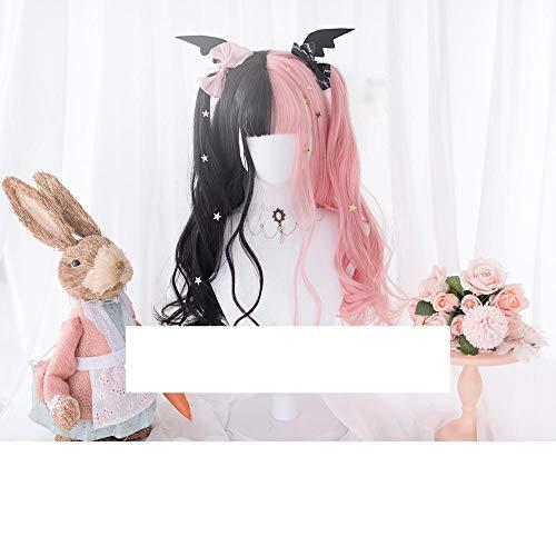 XTHY Cosplay Perücke Lolita zweifarbige schwarz rosa lockiges Haar 24 Zoll PerüCken Damen Volle Haar PerüCke FüR TäGliche Kleidung Cosplay Party Halloween