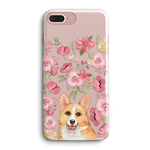 iPhone 8/iPhone 7/iPhone SE(2020) Case Girls Women,Cute Corgi with Pink Blooms Flowers Floral Wildflowers Funny Puppy Dog Chic Trendy Daisy Spring Compatible Clear Soft Case for iPhone 8/iPhone 7