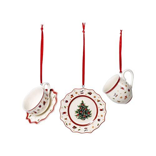 Villeroy & Boch - Toys Delight Decoration Ornements Ensemble de Vaisselle 3 Pièces, Ornements à Suspendre, Porcelaine Premium, Textiles, Métal, Blanc,, Rouge, 6,3 cm
