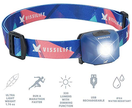 VISSILIFE Sugar Cube Headlamp for Running- Rechargeable LED Head Lamp, 320 Lumens, Dimmable, IPX4, Lightweight, Perfect for Camping, Hiking, Night Running (Midnight Blue)