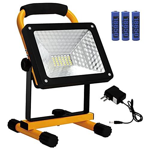 KAMEUN 50w Foco LED Portátil, IP65 Luz de inundación portátil,360° Giratorio Portátil Luz de Trabajo para Jardín,Garaje,Obra,Camping