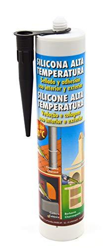 Pyro Feu 24912-6 Silicona refractaria alta temperatura hasta 320 °C para sellado y adhesión de hogares, casetes, estufas y chimeneas
