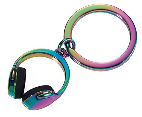 Troika Schlüsselanhänger, Kopfhörer, Metallguss, Silikon, irisierend