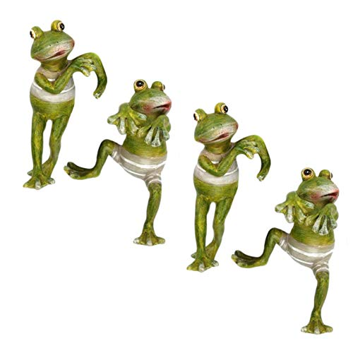 WEJSI 4PC Creative Green Frog Statue Home Decoration, Resin Crafts 3D Frog Sculpture, Decorations Frog Figurine for Desk Office Garden Decoratio