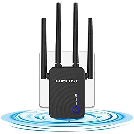 GAOAG Repetidor WiFi 1200Mbps Amplificador Señal WiFi Banda Dual 5GHz Extensor de Red WiFi Enrutador Inalámbrico Punto Acceso (3 Modos, 4 Antenas, ...