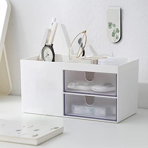 Faffooz Büro Schreibtisch Organizer Schreibtisch Aufbewahrungsbox Ordnungssystem 4 Speicherabteil Büro Schreibtisch Organizer Stiftehalter, Tisch Organizer,für Visitenkarten, Stift