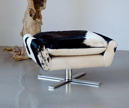 NEUERRAUM Bequemer Kuhfell Fußhocker, Beistellhocker, Sitzhocker, Hocker mit Kissen, Fuß massives Edelstahl. Gewicht 17 kg. Abbildung in (Echt-) Kuhfell Schwarz-Weiß.