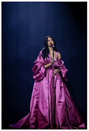 Tela De Lienzo 60 * 90cm Sin Marco Dua Lipa Pink Noble Dress Holy and Close Dormitorio Sala Pinturas Habitación Dormitorio Decoración