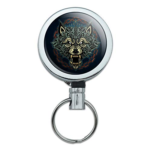 Fenrir Fierce Snarling Wolf in Chains Norse Mythology Heavy Duty Metal Retractable Reel ID Badge Key Card Tag Holder with Belt Clip