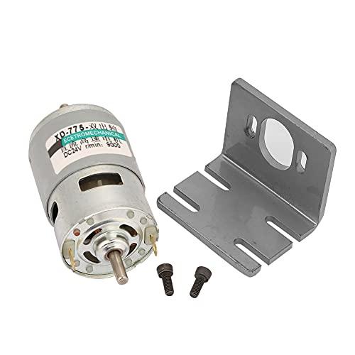 Motor de corriente continua, motor de eje doble de alambre de cobre puro 775 DC24V 12V Motor de mandril de riel para equipo de seguridad(24V9000RPM, Con soporte)