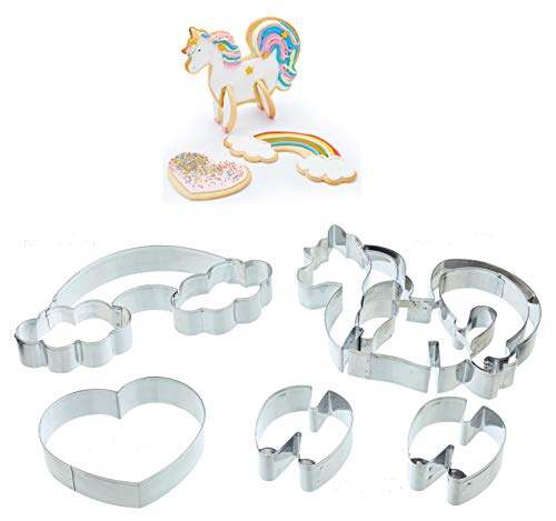 KitchenCraft Sweetly Does It 3D Unicorn Cookie Cutters (5-Piece Set)