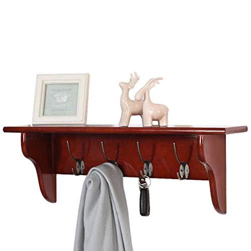 WAJI Elegant houten kapstok met aparte gietijzeren 4 haken. Slaapkamer, badkamer, hal voor geschenken