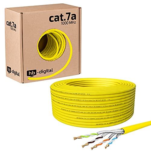HB-DIGITAL 50m Cavo di rete cat.7A cavo di rete LAN AWG 23/1 cavo giallo cat 7 rame professionale S/FTP PIMF LSZH senza alogeni RoHS conforme Cat7a cat.7 a cavo dati Ethernet 10Gbit 1000MHz 10 Gigabit