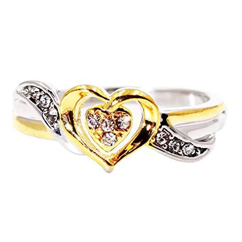 Weiy Anillo de Dos Tonos con Diamantes de imitación Brillantes en Forma...