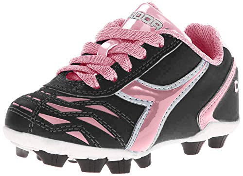 Diadora Capitano MD JR Soccer Shoe (Little Kid/Big Kid), Black/Pink, 10 M US Little Kid