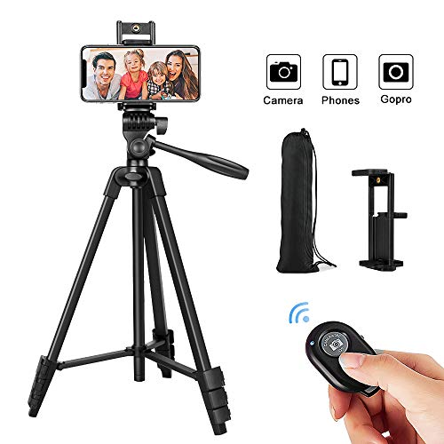 """Cell Phone Tripod,54"""" Extendable Adjustable Phone Tripod, Lightweight Tripod 360° Rotation with Bluetooth Remote Control Mount,Portable Bag,1/4"""" Mounting Screw for iPhone Smartphone Camera Projector"""
