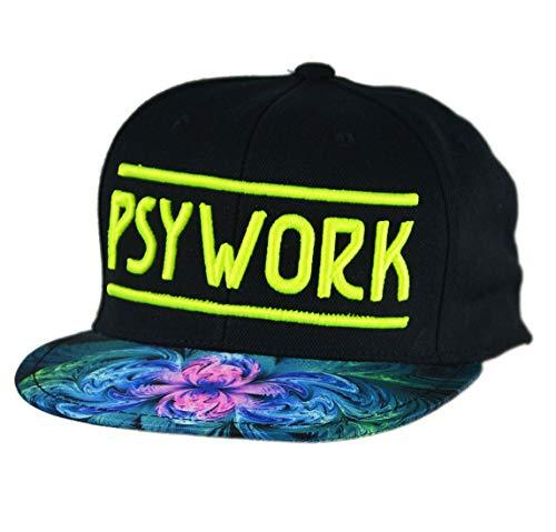 PSYWORK Schwarzlicht Black Cap Neon Plasma Galaxy, Gelb