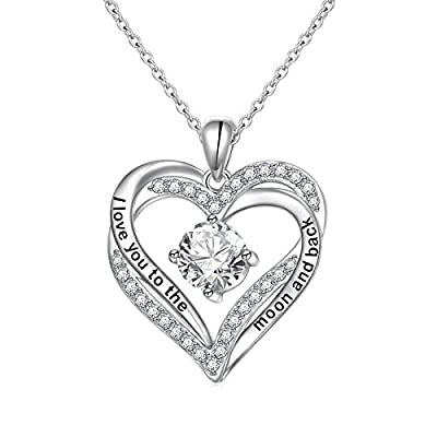 Amazon - Save 40%: DAOCHONG 925 Sterling Silver Heart Necklace I Love You to the Moon and Back